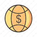 currency, global, globe, world icon