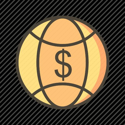 currency, global, globe, world icon