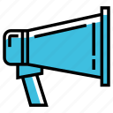announce, announcement, bullhorn, business, loudspeaker, marketing, megaphone icon