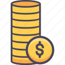 cash, coin, coins, dollar, finance, money, revenue icon