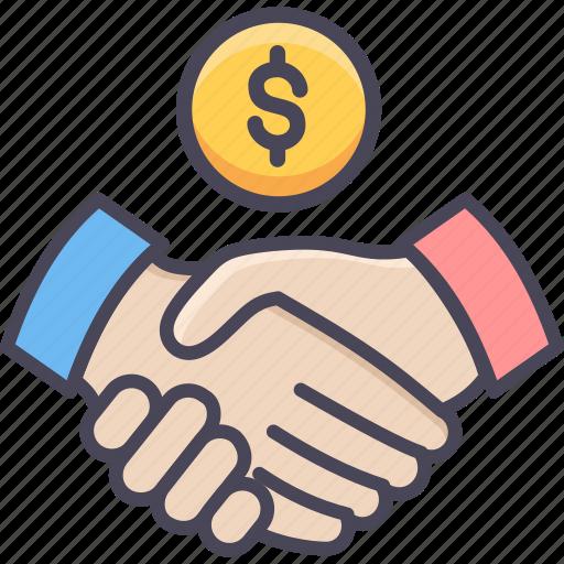 agreement, bank, deal, finance, handshake, money, shakehand icon