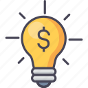 bulb, business, finance, idea, light, money, power icon