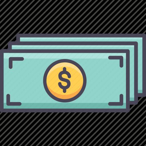 cash, currency, dollar, finance, money, paper, revenue icon