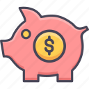 coin, dollar, finance, piggy, piggy bank, saving, savings icon