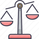 balance, judge, justice, legal, lifting, weighing scale, weight icon