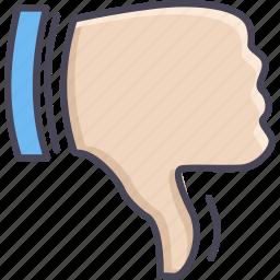 decline, down, gesture, hand, no, refuse, thumb icon