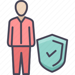 employee, insurance, protection, safety, security, shield, user icon
