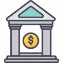 bank, banking, services, finance, house, stock, treasury icon