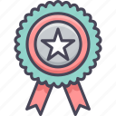 achievement, badge, bookmark, favorite, medal, ribbon, star icon
