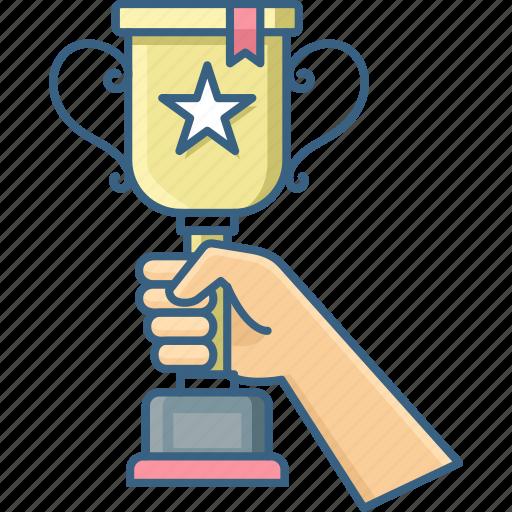 Champion, hand, trophy, winner, achievement, award, prize icon - Download on Iconfinder