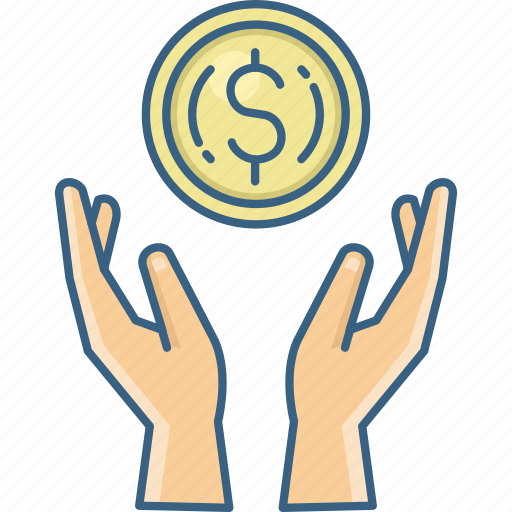 cash, expenditure, funds, hand, investment, money, shopping icon
