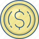 cash, coin, currency, dollar, doller, money icon