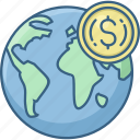 currency, dollar, earth, glob, global, money, world icon