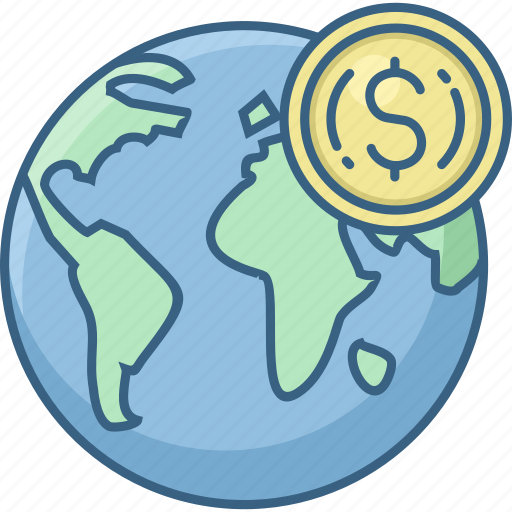 currency, dollar, earth, glob, global, money, world icon