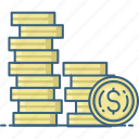 business, cash, coins, currency, finance, money icon