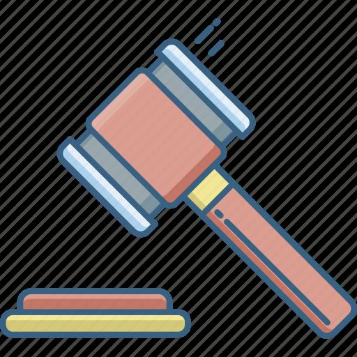 auction, bid, gavel, gavil, hammer, law, legal icon