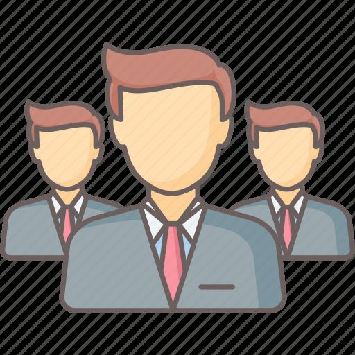 businessman, businessmen, management, team, users icon