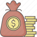bag, bank, coin, currency, finance, money, payment icon
