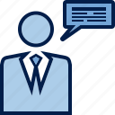 business, chief, communication, dialogue, instruction, message, order icon