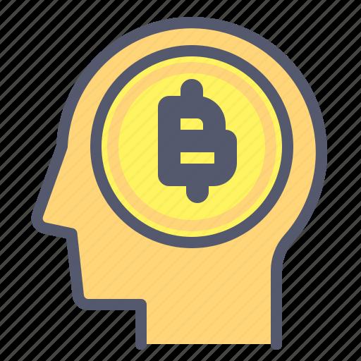 bitcoin, brain, crypto, human, market icon