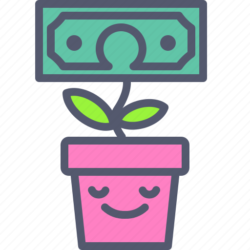 dollar, flower, investor, plant icon