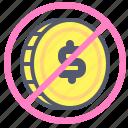 coin, dollar, exchange, forbidden, value icon
