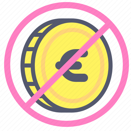 coin, euro, exchange, forbidden, value icon