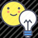 face, happy, light, lightbulb, smile icon