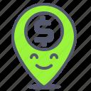 dollar, gps, location, map, money, value