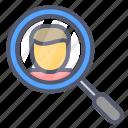 investigate, profile, search, study, user icon