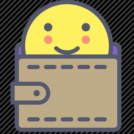 face, gear, happy, personal, smile, wallet icon