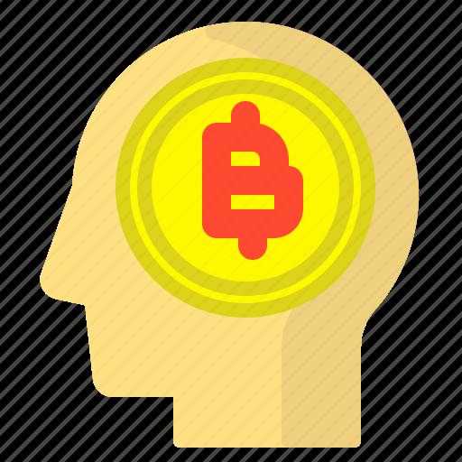 Bitcoin, brain, crypto, human, market icon - Download on Iconfinder