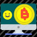bitcoin, digital, imac, pc, request, send, transfer icon