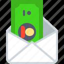 dollar, mail, money, request, send, transfer