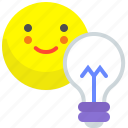 face, happy, light, lightbulb, smile