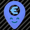 euro, gps, location, map, money, value
