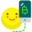 bitcoin, crypto, mobile, payment, request, send, transfer icon