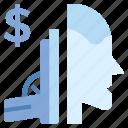 business, business & finance, dollar, gun, head, killer icon