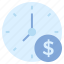 business, business & finance, clock, dollar, money, time icon