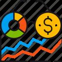 analytics, chart, diagram, glasses, statistics, view, vision icon