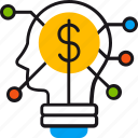brainstorm, dollar, head, idea, money, cash, coin
