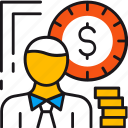 business, cash, finance, man, money, office, value icon