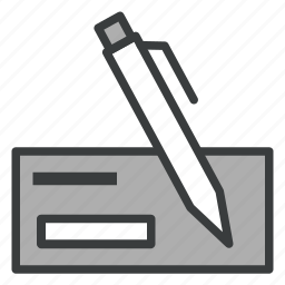business, check, finance, payment, pen icon