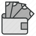 business, currency, finance, money, wallet icon