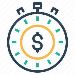 clock, deadline, dollar, management, performance, time icon