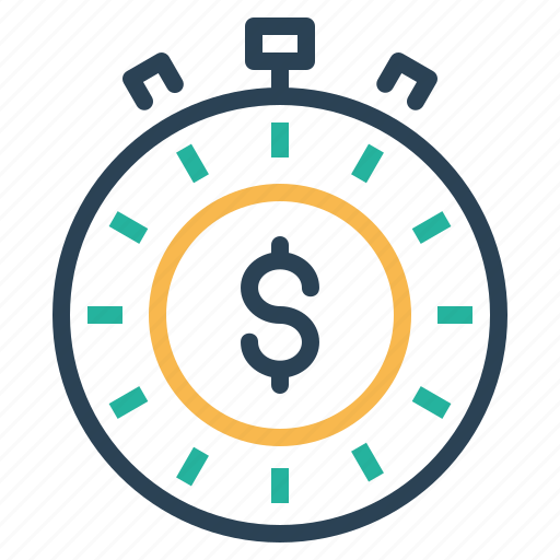 clock, deadline, dollar, management, performance, time icon