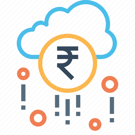 cloud, earning, fortune, money, raining, success, wealth icon