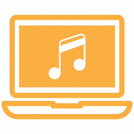computer, laptop, music, work icon