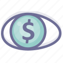 business, eye, finance, marketing, money, sell icon