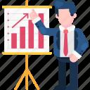 business, finance, graph, man, presentation, profit, traffic icon